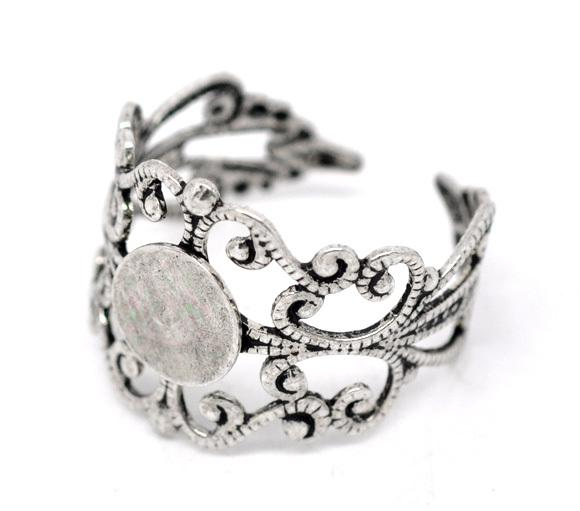Free shipping 20pcs Silver Tone Adjustable Filigree Cabochon Ring Base Blank Settings US8 Jewelry Findings wholesale jewelry making findings
