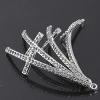 Wholesale Sideways Cross Bracelet Jewelry Wholesale - 52X15mm 30PCS silver plated and white Crystal Rhinestones Sideways Curved cross Connector beads making Bracelet Findings For DIY Jewelry