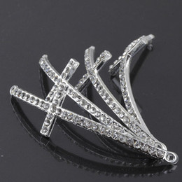 Wholesale Rhinestone Connectors For Bracelets - 52X15mm 30PCS silver plated and white Crystal Rhinestones Sideways Curved cross Connector beads making Bracelet Findings For DIY Jewelry