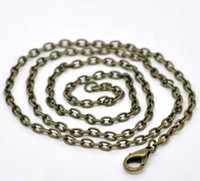 Wholesale Jewelry Making Bronze Chain - Free Shipping 24 Strands Bronze Plated Lobster Clasp Link Chain Necklaces 20'' wholesale jewelry making DIY