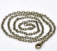 halskette stränge großhandel-Freies Verschiffen 24 Strands Bronze Überzogene Karabinerverschluss Gliederkette Halsketten 20 '' großhandel schmuck machen DIY