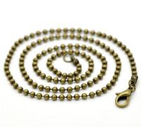 cadena de bolas para el cierre al por mayor-Envío gratis 24 hilos de cadena de bolas de bronce antiguo (2.4 mm) collares de langosta 46cm hallazgos venta al por mayor