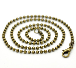 Wholesale Antique Ship Chain - Free Shipping 24 Strands Antique Bronze Ball Chain (2.4mm) Lobster Clasp Necklaces 46cm Findings Wholesale