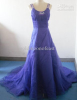 Wholesale Prom Dresses Days - In Stock!1-2 Day Dispatch! Purple Organza with Crystals Beads Bride A-line Court Train Wedding dresses lace up back-k032