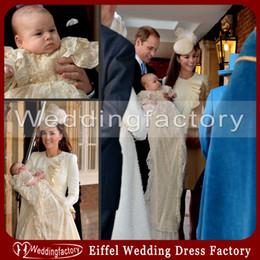 Erste kommunionsroben online-Vintage Prince George Lace Taufkleider Taft Champagner Taufe Robe erste Kommunion Kleider Baby Kleider nach Maß