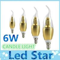 Wholesale free energy saving light bulbs - E14 6W LED Bent Tip Candle Light 40LED 3014 SMD LED Bulb Warm Cool White Energy-saving Lamp Golden Free shipping