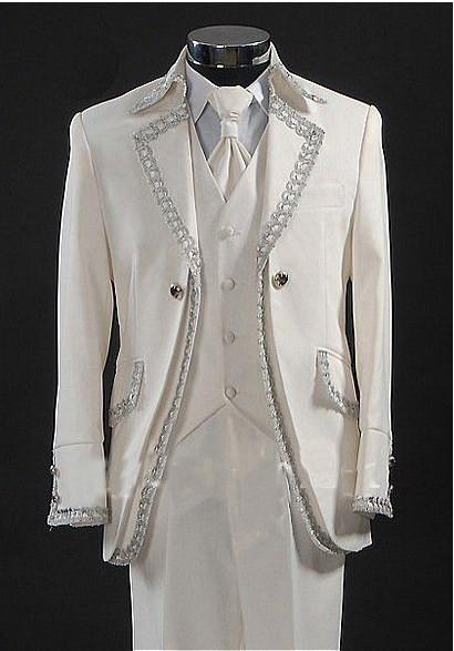 Ceket Pantolon + Kravat + Vest + custo mized Damat özel terzi Son Rhinestone Damat smokin Beyaz Sağdıç Sağdıç Erkekler WeddingDinner Suits