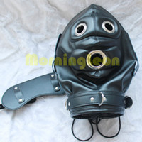 Wholesale Zentai Bondage - Bondage Gear BDSM Restrain Full Cover Hood Mask Faux Leather Gimp Zentai Sexy Costume Muzzle Fetish Sex Toy Detachable B0306020