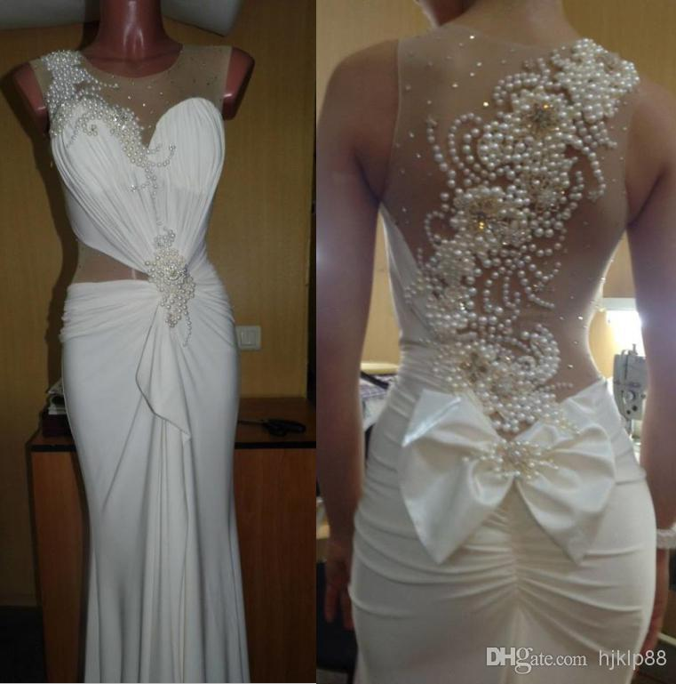 Actual Pictures 2014 Sexy Illusion Bridal Gowns Pearl