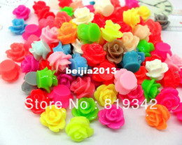 Wholesale Mixed Color Acrylic Beads - Free Shipping 150pcs lot Mixed Color 10-20mm Rose Resin Beads Flatback Cabochon Scrapbook Fit Phone Embellishment wholesale jewelry making