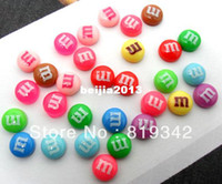 Wholesale Dessert Cabochons - Free Shipping 100pcs Mixed 8mm Round Resin Letter M Bead Flatback Dessert Cabochons Jewelry findings   Mobile phone DIY