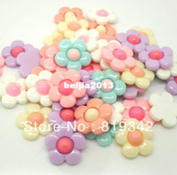 Wholesale Resin Flower Embellishments - Free Shipping 80pcs lot Resin flower 5 petal flower Flatback Cabochon Scrapbook Fit Phone Embellishment 20mm