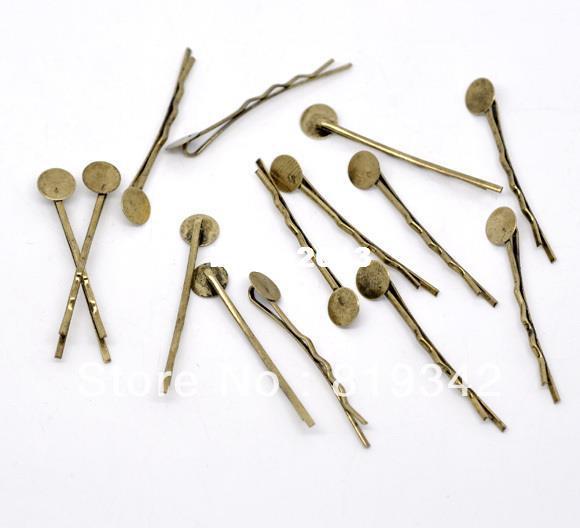 Spedizione gratuita 100pcs bronzo tono bobby pins per capelli w / 8mm colla pad 4.4 cm accessori per capelli