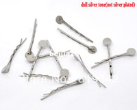 Wholesale Glue Pin - Free Shipping 100pcs Silver Tone Bobby Pins Hair Clips W   8mm Glue Pad 4.4cm Hair Accessories