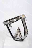 cerraduras vaginales al por mayor-Cinturón de castidad ajustable de acero inoxidable modelo-T con un tapón vaginal de bloqueo + tapón de tope extraíble