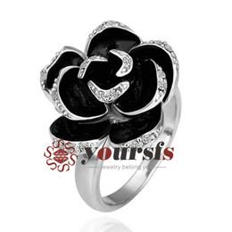 Grandes anillos de cristal online-Yoursfs Classic Big Black Rose Anillos de Flor 18 K Oro Rosa Plateado CZ Crystal Princesa Grande Art Deco Anillos para Mujeres Noble Joyería de Moda