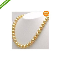 "Wholesale South Seas Pearls - 18"" Gorgeous AAA+ 8-9 mm golden south sea pearl necklace 14k"