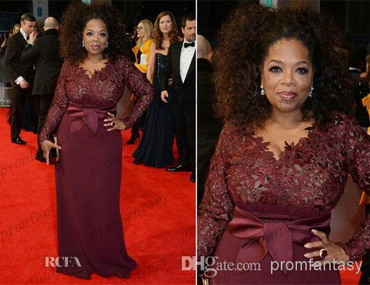2016 Oprah Winfrey Burgundy Long Sleeves Sexy Mother Of