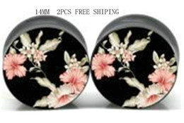 Wholesale 14mm Acrylic Ear Tunnels - smbj1402180212 high quality 2pcs 14MM Japanese flower ear tunnel plug fashion body piercing jewelry ,free shipping