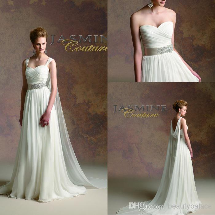 Greek Style A Line Chiffon Wedding Dress 2017 Simple Sash: Custom Vintage Greek Style A Line Detachable Straps Beaded