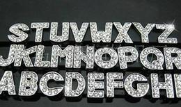 Pedido del comprador: 350pcs / lot 8 mm A-Z rhinestones llenos bling slide cartas accesorios de bricolaje aptos para pulsera de cuero de 8 mm desde fabricantes