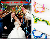 Wholesale romantic items - New Romantic Wedding Decoration Colorful Ribbon Wish Wands With Bells Party Holiday Fairy Stick Shooting Props Cheering Item