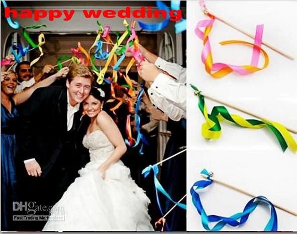 top popular New Romantic Wedding Decoration Colorful Ribbon Wish Wands With Bells Party Holiday Fairy Stick Shooting Props Cheering Item 2019