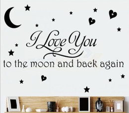 Wholesale Bedroom Quotes - I Love You To The Moon And Back Again Wall Quote Decal Removable Art  Vinyl Sticker Decor  Nursery And Kids Room