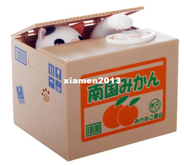 Freeshipping by CPAM new arrival Automated cat steal coin piggy bank / saving money box / coin bank / kids gift JZ145