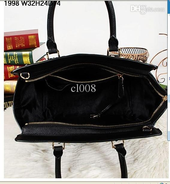 デザイナーレザーハンドバッグ本物の牛革人気の金属のリベット装飾的なファッションバッグ速い送料無料