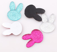 Wholesale Diy Charms Bunny - 35*25mm Long-eared Rabbit Bunny Flatback Resin Rhinestone Mickey Flat back Beads Charms for DIY decoration ZBE101