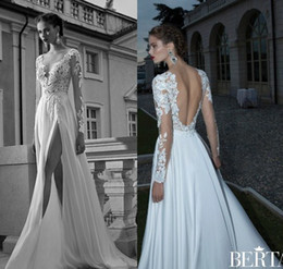 Wholesale Dropped Wedding Dresses - Boho 2016 Long Sleeves Berta Bridal Dresses Sexy V-Neck Sheer Lace Appliqued Backless A-Line Side Slit White Chiffon Beach Wedding Gowns