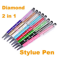 Wholesale Iphone 4s Rhinestones - Flower Diamond Rhinestone Capacitive 2 in 1 Touch Stylus Pen For ipad iphone Samsung 4 4S 5 5S Tablet