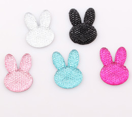 Wholesale Animal Resin Cabochons - 35*25mm DIY Easter Bunny Rabbit Flatback Resin Rhinestone Beads Flat Back Stick On Cabochons Embellishment Jewelry