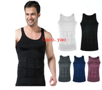 Wholesale Slim vest Mens Slimming lift Shirt Weight Shaping Bodysuit Beer Belly Body Shaping Garment