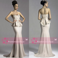 Wholesale Silver 926 - 2016 Janique Peplum Prom Gowns Mermaid Sweetheart Backless Lace & Chiffon Beaded Flower Applique Sweep Train Elegant Evening Dresses 926