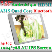 Écran 7,85 pouces A31S Quad Core Tablet PC 1G 16G Bluetooth UA IPS capacitif pas cher 1024 * 768 ARM Cortex A7 Android 4.2 double caméra Tablet PC