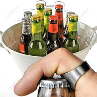 Wholesale Fasion Rings - S5Q Mini Fasion Stainless Steel Finger Ring Bar Beer Bottle Opener Portable Tool AAAAQV