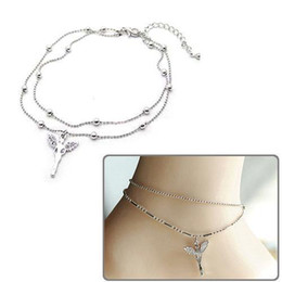 Wholesale Jewelry Korea Free Shipping - S5Q New Fashion Jewelry South Korea Beautiful Angel Double Graceful Ankle Chain Free Shipping AAAAZZ