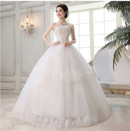 Wholesale Sexy Korean Picture - Hot new Princess lace up back Bridal gown Weddings Dresses evening long dress Sweet retro wedding Korean Princess Bra straps white 927