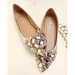 Wholesale Gold Shoes For Women - Flat Dress Shoes For Women Black Gold Crystal Style 2014 New Free Shipping 0220S05