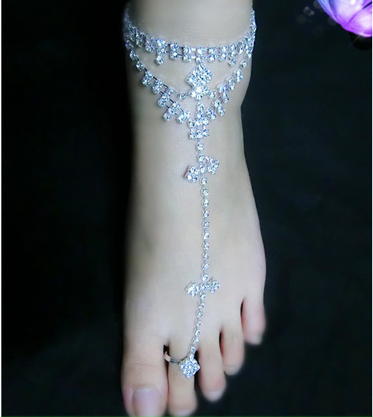 1PC Rhinestone Bridal Barefoot Sandal Beach Anklet Foot Chain Thong Toe ring