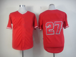 Wholesale Xxl Name Brand Shirts - Baseball Jerseys Angels 27 Mike Trout Red Mens Sports Jerseys Brand Players Shirts Sewn Number and Name New Baseball Wears Hot Sale