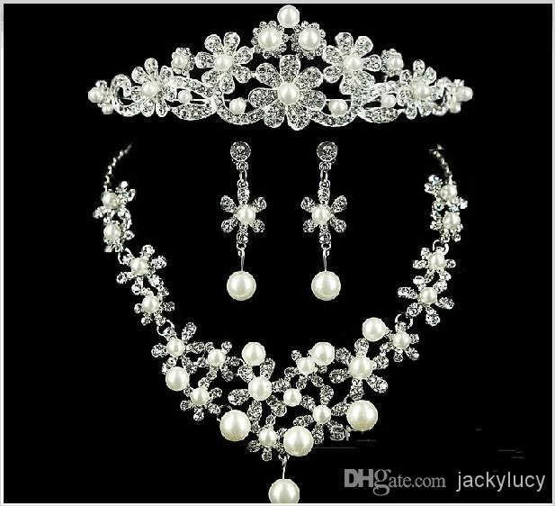 Wedding Pearl Jewelry Bridal Accessories Imperial Crown Tiara Necklace Three-piece