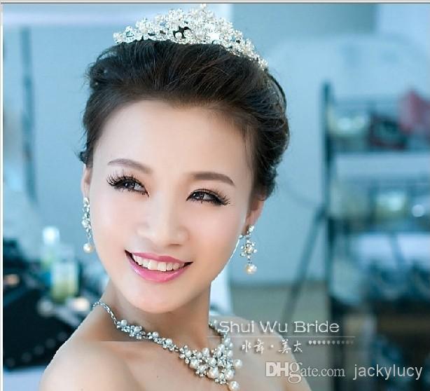 Wedding Pearl Jewelry Accessori da sposa Imperial Crown Tiara Necklace Three piece