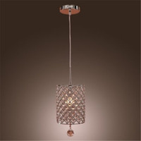 Contemporary Crystal Drop Pendant Light in Cylinder Style Pe...