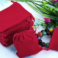 Wholesale Velvet Jewelry Bag Red - Free Shipping 100Pcs 7x9cm Red Velvet Drawstring Pouch jewelry Bag,Christmas Wedding Easter Party Gift Bag