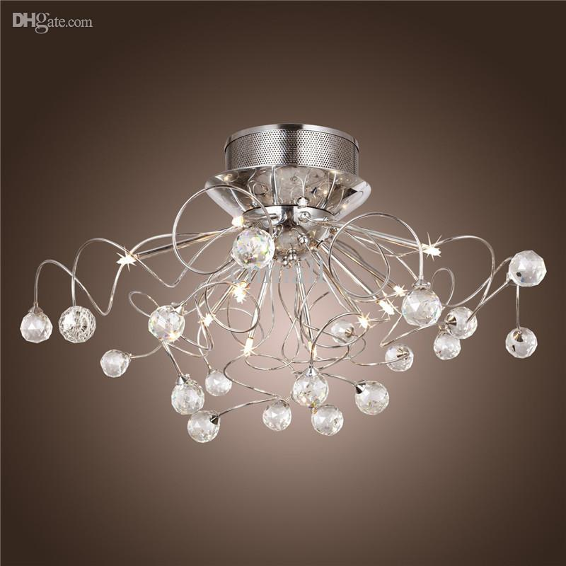 Modern crystal led chandelier ceiling light fixture for Modern chandelier lighting fixtures