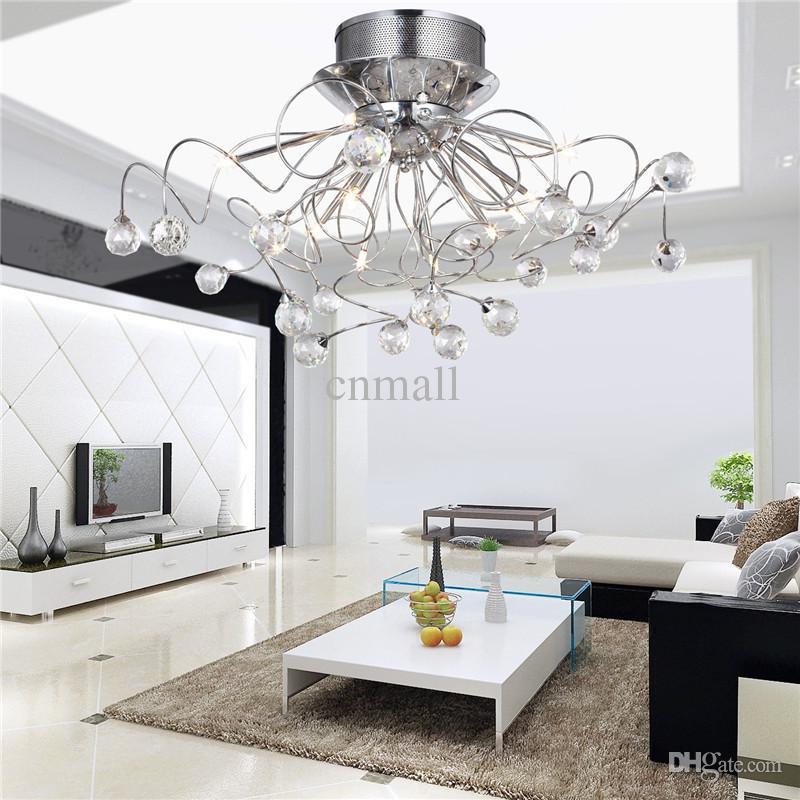 Lámpara de cristal LED moderna Lámpara de techo Iluminación Lámparas de araña de cristal Luz pendiente con 11 luces G4
