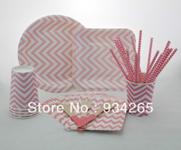 Wholesale Square Cake Paper Cup - Wooden Forks Knifes Spoon It pink chevron party supplie round and square paper plates paper cups paper straws paper bags